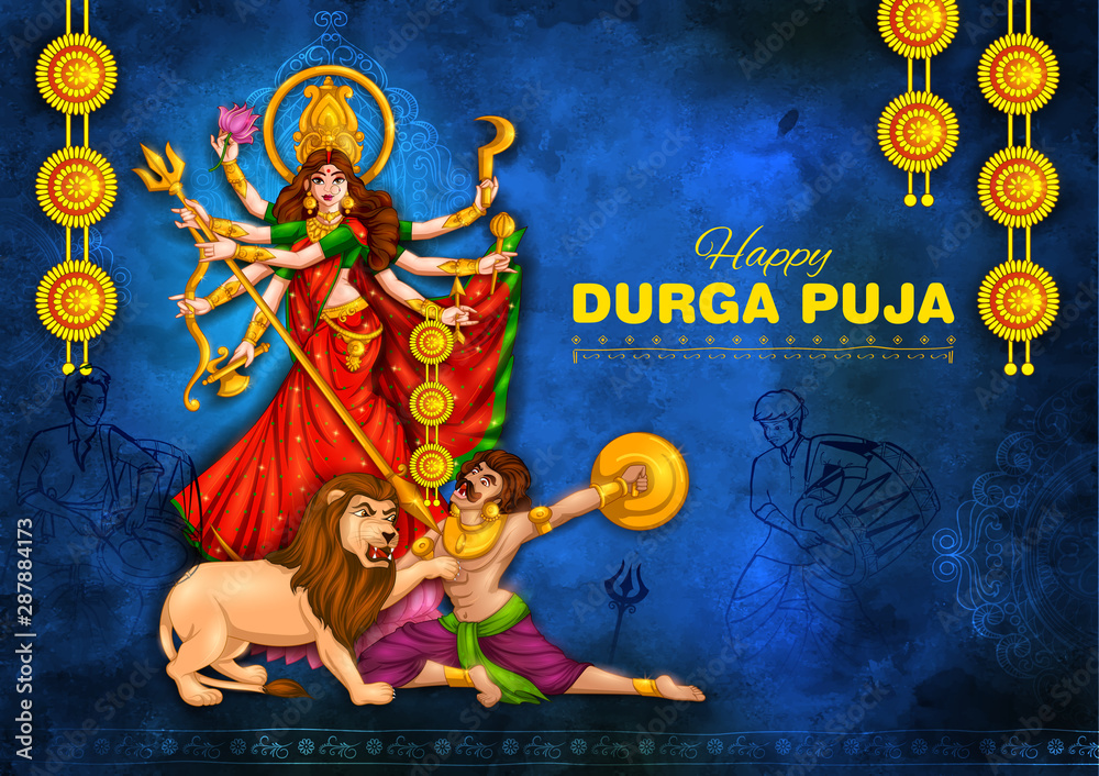 Fototapety, obrazy: illustration of Goddess Durga in Happy Durga Puja Subh Navratri Indian religious header banner background