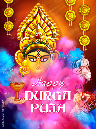 illustration of Goddess Durga in Happy Durga Puja Subh Navratri Indian religious header banner background