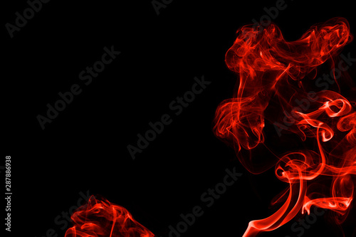 Abstract Red Orange Color Smoke Isolated On Black Background