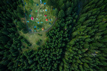 Camping Site With Tents Seen F...