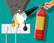 Electrical Outlet With Plug On Fire And Fire Extinguisher In Hand With Foam. Overload Of Network. Short Circuit. Electrical Safety Concept. Wall Socket In Flames With Smoke. Flat Vector Illustration