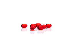 Red Soft Gel Capsule Pills Iso...