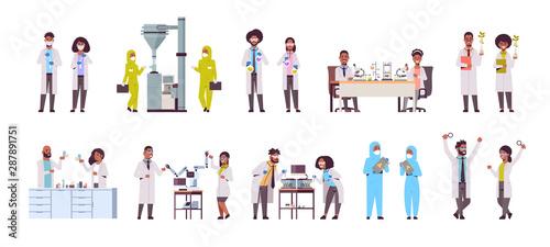 Stampa su Tela  set different scientific researchers making experiments in laboratory scientists