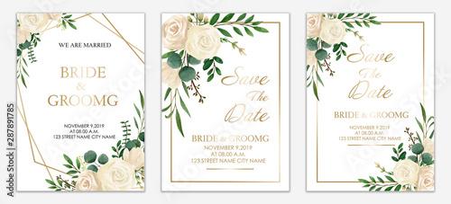 Set Of Wedding Invitation Card Design Botanic Composition