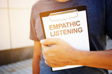 Text Sign Showing Hand Writing Words Empathic Listening