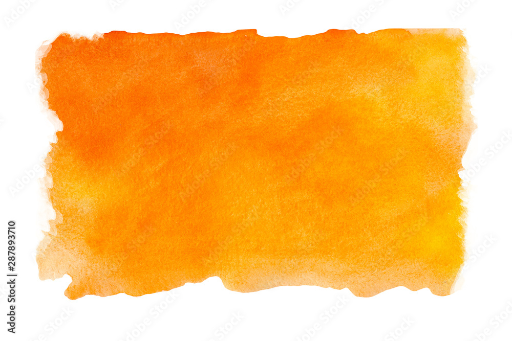 Fototapeta Abstract watercolor orange textured background on a white isolated background