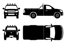 Pickup Truck Black Icons Vector Illustration