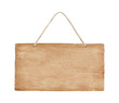 canvas print picture - empty wooden sign hanging on a rope on white background with clipping path