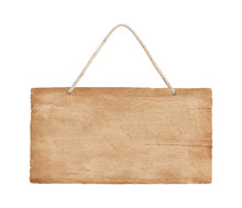 Empty Wooden Sign Hanging On A Rope On White Background With Clipping Path