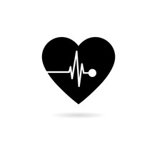 Black Heart Rate Icon Isolated...