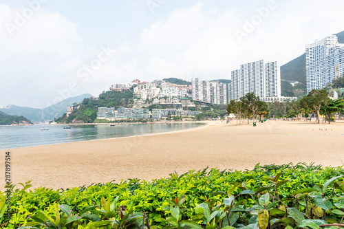 repulse bay beach of hong kong island with green bush Slika na platnu