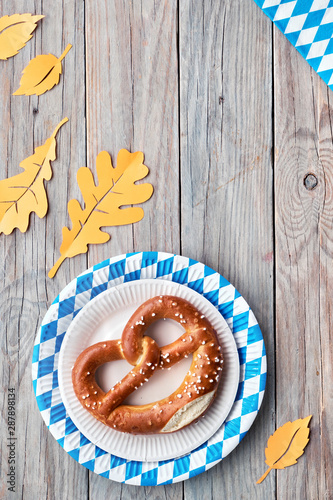 Oktoberfest Flat Lay On Rustic Wooden Table With Pretzel