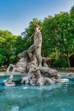 The Neptune Fountain In The Old Botanical Garden Of Munich, Germany