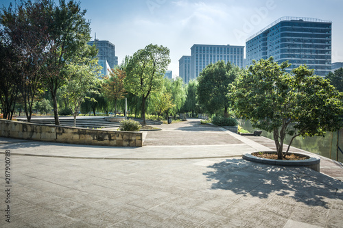 Photo  city park with modern building background