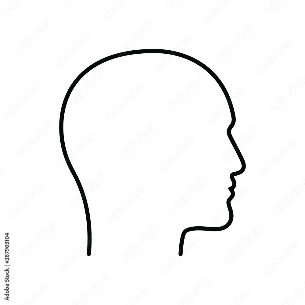 Fototapeta Contour male head graphic icon. Head  man linear sign isolated on white background. Outline profile symbol. Vector illustration