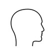 Contour male head graphic icon. Head  man linear sign isolated on white background. Outline profile symbol. Vector illustration