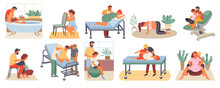 Position Of Pregnant Woman, Reproduction Set, Man Obstetrics. Female With Belly Giving Birth On Floor, Chair And Ball, Bath. Husband Helps Childbirth. Childbirth Labor Positions And Postures At Home