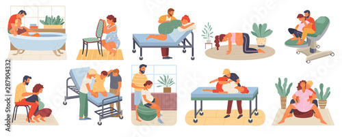 Fotografia Position of pregnant woman, reproduction set, man obstetrics