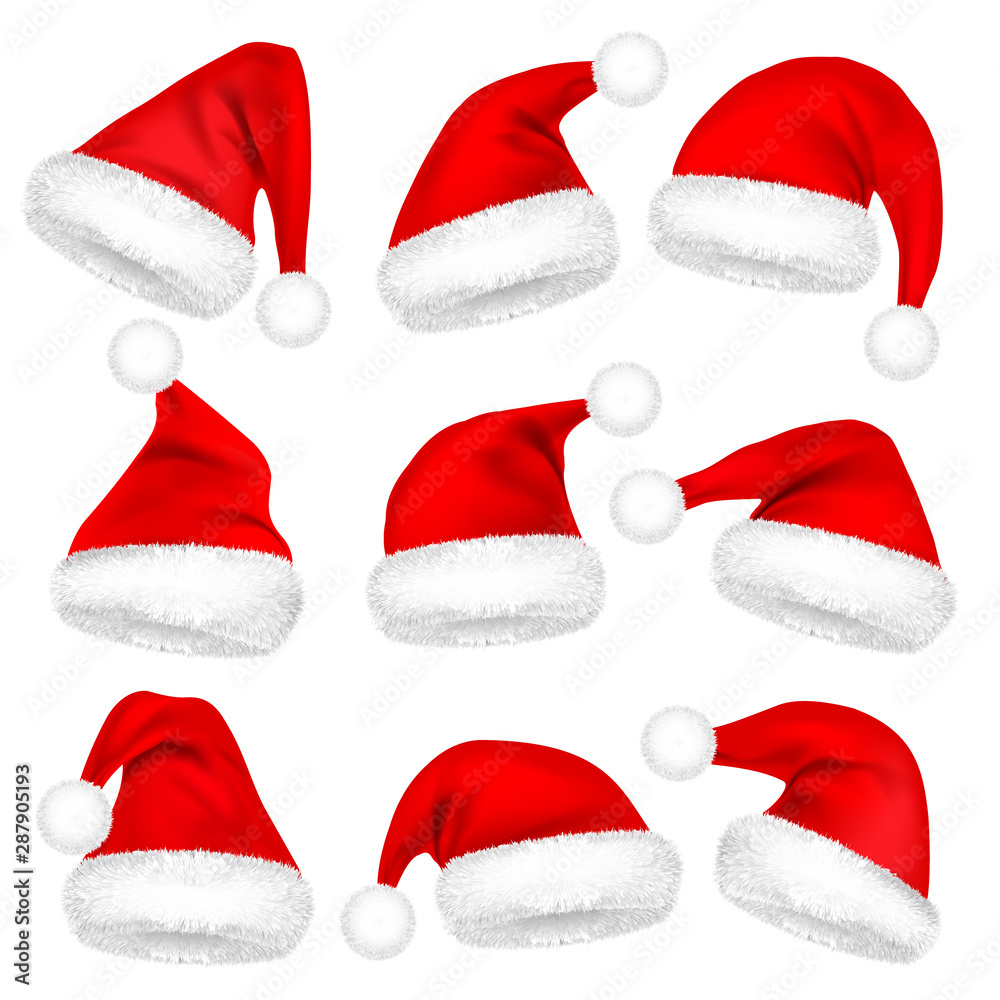 Fototapety, obrazy: Christmas Santa Claus Hats With Fur Set. New Year Red Hat Isolated on White Background. Winter Cap. Vector illustration.