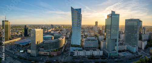Fototapety, obrazy: Warsaw city with modern skyscraper at sunset-Panorama