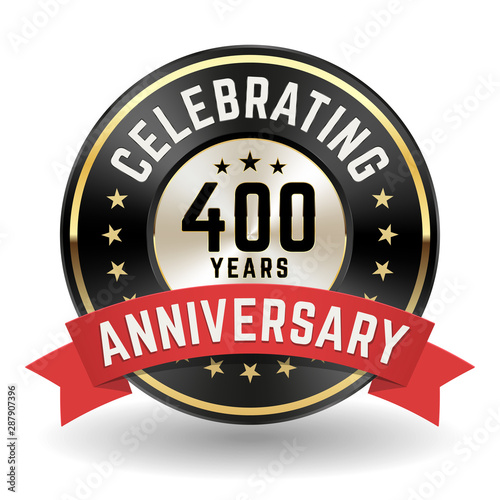 Celebrating 400 Years - Gold Anniversary Badge With Red Ribbon Fototapete