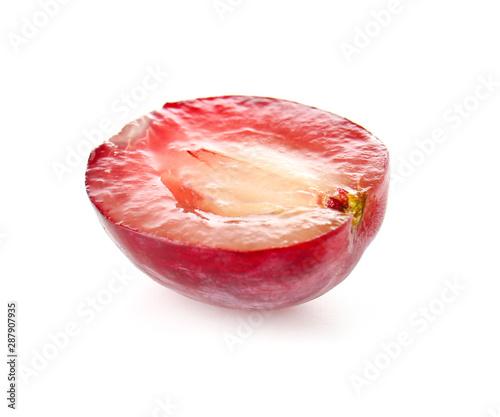 Fototapeta Ripe cut grape on white background obraz