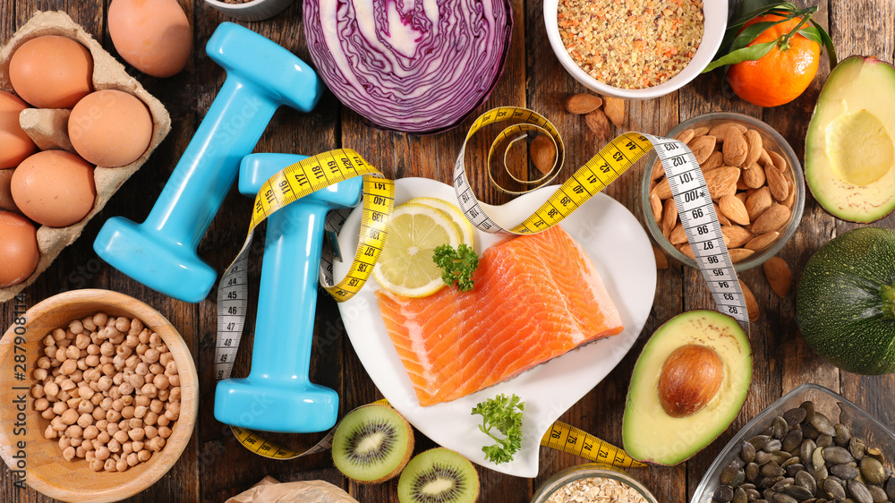 Fototapety, obrazy: selection of diet food, salmon with dumbbell and healthy food