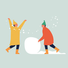 Vector Illustration Children Make A Snowman. Christmas Characters.