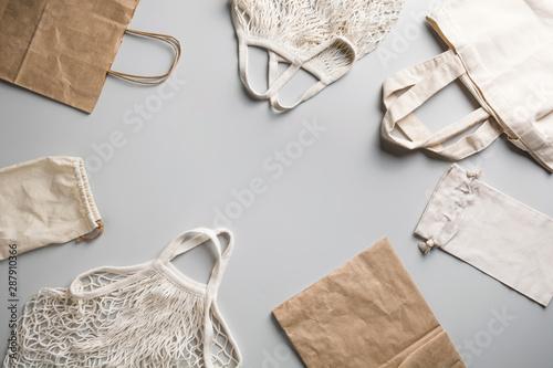 Fotografie, Obraz  Reusable mesh, cotton and net bag for zero waste lifestyle on grey