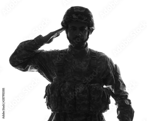 Fotomural  Silhouette of saluting soldier on white background