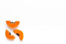 Sliced Papaya On White Backgro...