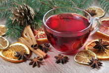 Christmas Background. Mulled Wine, Dried Fruits And Spices On A Wooden Table