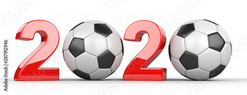 Cuadros en Lienzo  Soccer ball with 2020 inscription.