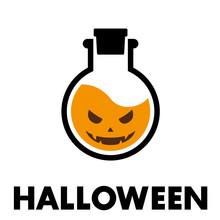Logotipo Con Texto HALLOWEEN Con Brobeta Con Cara En Color Naranja
