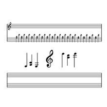 Vector Set Of Musical Symbols, Signs, Notes, Clef, Musical Instrument On A White Background.