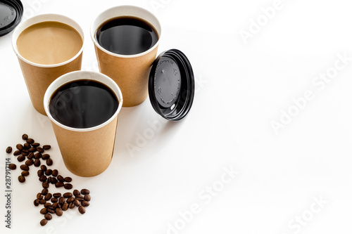 Obraz na plátně  Coffee to-go on white background mock up