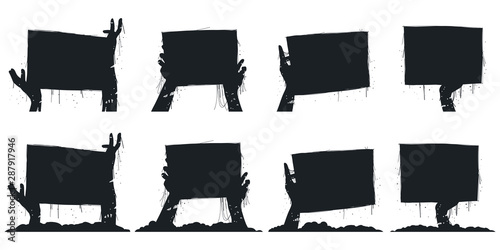 Zombie hands holding board black silhouette vector icons set isolated on a white background Fototapet