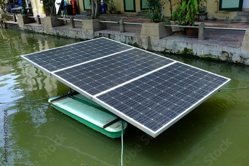 Fish Farming Solar Cell Panel Paddle Wheel Aerator. Fototapeta