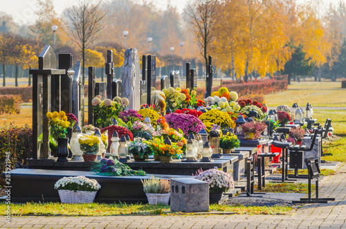 All Saints' Day at the southern municipal cemetery in Antoninow, Poland #287921948