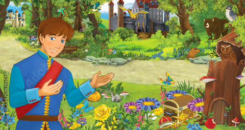 cartoon scene with happy young prince or king in the forest near some castles - illustration for children - 287922567