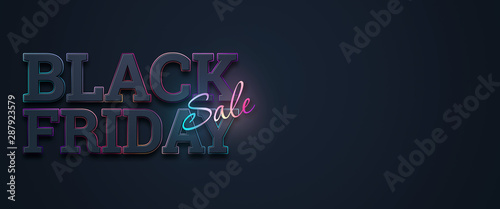 Tela  Black friday sale inscription neon letters on a dark background, horizontal banner, design template