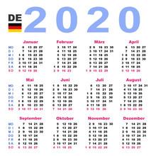 Calendar 2020 In German. Horizontal. Week Starts Monday