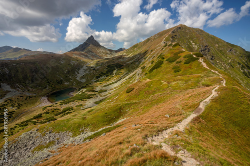 Fototapeta Path throught west Tatra Mountains with view on Volovec and Ostry Rochac. obraz