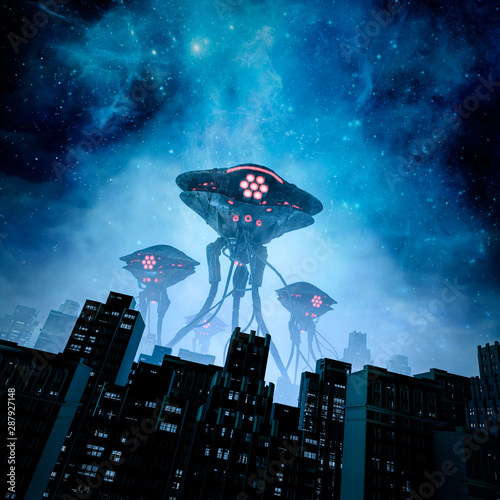 Fotografiet Night of the invasion / 3D illustration of retro science fiction scene with gian