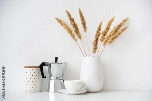 Pinturas sobre lienzo  White home decor, coffee maker, ceramic vase and cup on tabletop, contemporary i