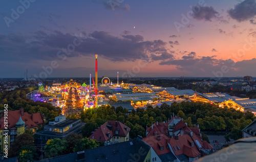 fototapeta na lodówkę Oktoberfest in Munich from a high view at sunset.