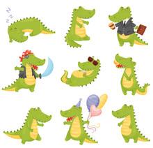 Set Of Cute Crocodiles. Vector...
