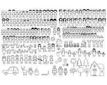 Set Of Happy Cartoon Doodle Fi...