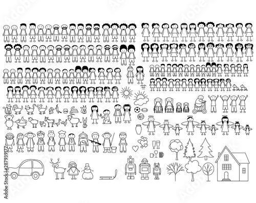 Fotografía Set of happy cartoon doodle figure family, stick man
