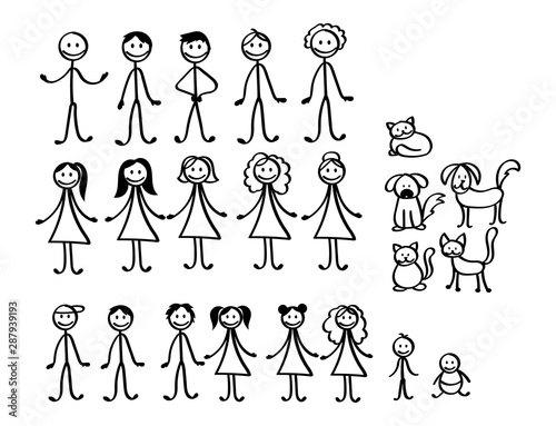 Fototapeta Set of happy cartoon doodle figure family, stick man. Stickman Illustration Featuring a Mother and Father and Kids. Vector Illustration, set of family in stick figures. Hand Drawn. obraz